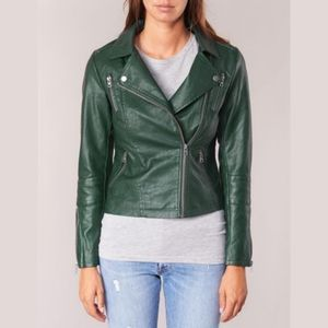 NWT ONLY Green Faux Leather Biker Jacket